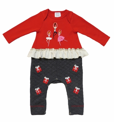 Lemon Loves Lime Baby Girls Red / Grey Nutcracker Sugar Plum Fairy Romper