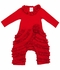 Lemon Loves Lime Baby Girls Ruffled Peony Romper - True Red