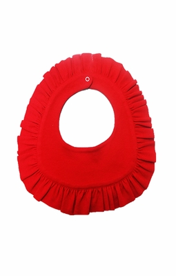 Lemon Loves Lime Baby Girls Rubie Ruffled Christmas Bib - True Red