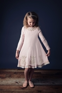 Lemon Loves Lime Girls Doily Angel Valentines Dress - Heavenly Pink
