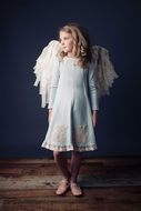 Lemon Loves Lime Girls Doily Angel Dress - Wan Blue - Wings Not Included!