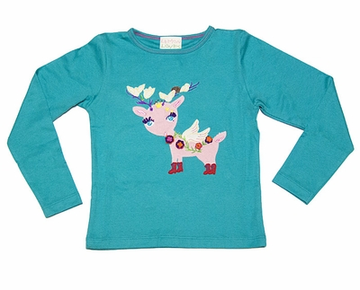 Lemon Loves Lime Girls Waterfall Blue Feather Fawn Christmas Reindeer Tee Shirt