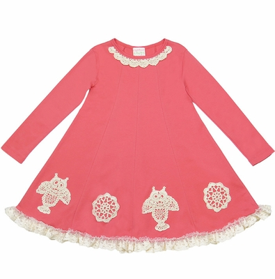 Lemon Loves Lime Girls Owl Doily Dress - Tea Rose Pink