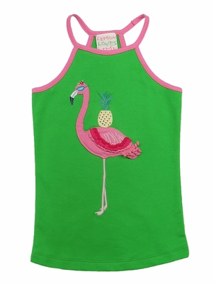 Lemon Loves Lime Girls Poison Green Pink Flamingo Tropic Tank Top