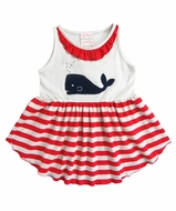 Lemon Loves Lime Girls Red Striped / Blue Whale Watch Tunic Top