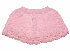 Lemon Loves Lime Girls Sweater Knit Bow Skirt - Almond Blossom Pink
