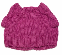 Lemon Loves Lime Girls Sweater Knit Piggy Tail Bow Hat - Cabaret Hot Pink