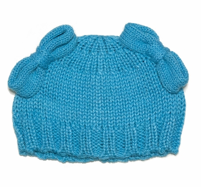 Lemon Loves Lime Girls Sweater Knit Piggy Tail Bow Hat - Scuba Blue