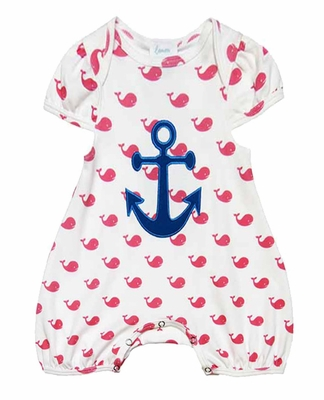 Lemon Loves Lime Layette Baby Girls Pink Whales / Blue Anchors Away Romper