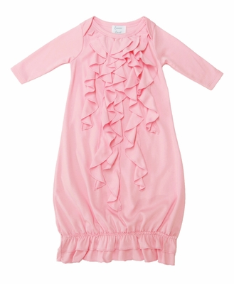 Lemon Loves Lime Layette Baby Girls Angel Gown - Rose Shadow Pink