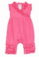 Lemon Loves Lime Layette Baby Girls Ava Ruffle Romper - Pink Lemonade