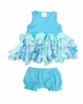 Lemon Loves Lime Layette Baby Girls Blue Radiant Dress with Bloomers