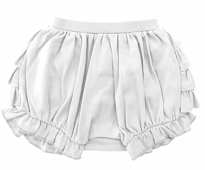Lemon Loves Lime Layette Baby Girls Bonnie Ruffle Bloomers - White