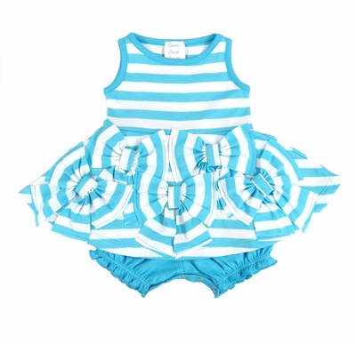 Lemon Loves Lime Baby Girls Bows & Striped Dress - Attached Bloomers - Blue