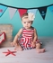 Lemon Loves Lime Baby Girls Bows & Striped Dress - Attached Bloomers - Red