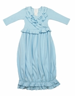 Lemon Loves Lime Layette Baby Girls Jenna Gown - Cinderella Blue