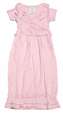 Lemon Loves Lime Layette Baby Girls Julia Gown - Rose Shadow Pink