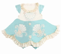 Lemon Loves Lime Layette Baby Girls Mermaids Treasure Dress - Eggshell Blue