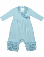 Lemon Loves Lime Layette Baby Girls Olivia Ruffle Romper - Cinderella Blue