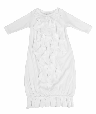 Lemon Loves Lime Layette Baby Girls Angel Gown - White