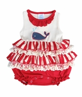 Lemon Loves Lime Baby Girls Red Striped / Blue Whale Splash Bubble