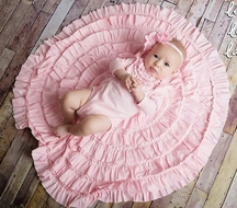 Lemon Loves Lime Layette Baby Girls Rose Wrap Circular Portrait Blanket - Rose Shadow Pink