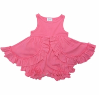 Lemon Loves Lime Layette Baby Girls Ruffle Calla Dress with Attached Bloomers - Pink Lemonade