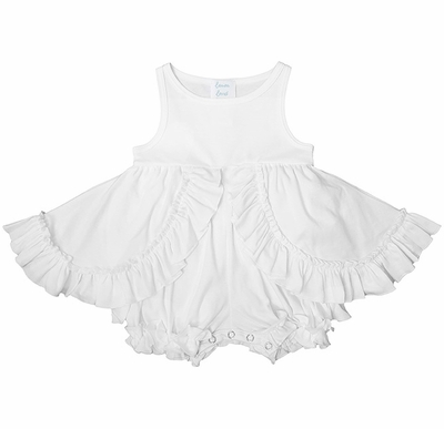 Lemon Loves Lime Layette Baby Girls Ruffle Calla Dress with Attached Bloomers - White