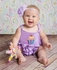 Lemon Loves Lime Layette Baby Girls Ruffle Romper - Lilac Purple Birthday Cupcake