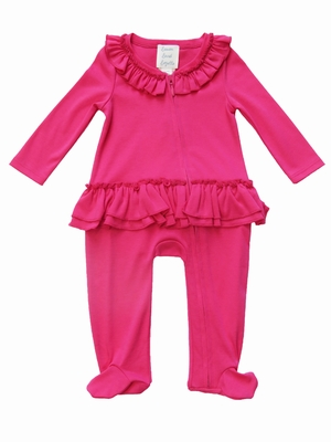 Lemon Loves Lime Layette Baby Girls Sophie Peplum Footie Romper - Hot Pink Cabaret