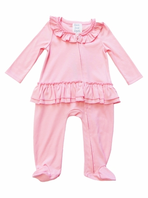 Lemon Loves Lime Layette Baby Girls Sophie Ruffle Footie - Pink Rose Shadow