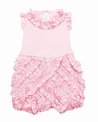 Lemon Loves Lime Layette Infant Girls Rula Ruffles Romper - Rose Shadow Pink