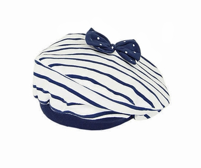 eaee742260095 LeTop Girls Navy Blue   White Striped Nautical Beret Hat with Bow