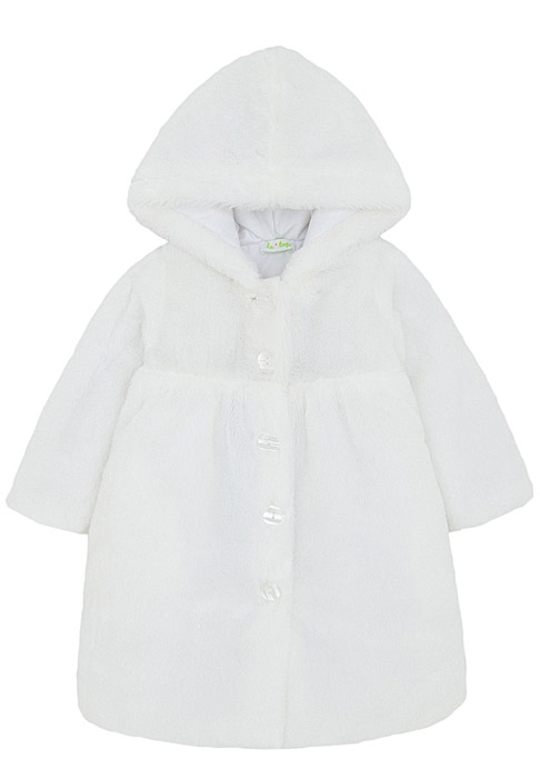 Le Top White Faux Fur Coat with Hood for Little Girls