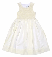 LeZaMe Kids Girls Dressy IVORY Sleeveless Smocked Bodice Dress