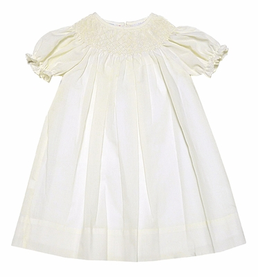 LeZaMe Kids Girls Dressy IVORY Smocked Bishop Dresses
