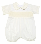 LeZaMe Kids Infant Baby Boys Dressy IVORY Smocked Bubble