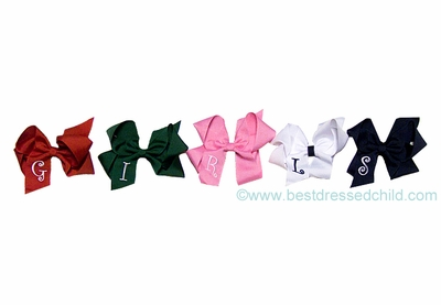 Girls Large Grosgrain Hair Bows - Personalized with Embroidery Letter Initial Monogram