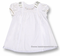 Luli and Me Baby / Toddler Girls Sweet Off White Dress with Bows and Embroidery