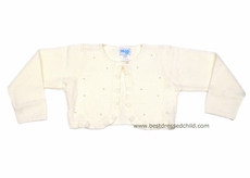 Luli and Me Girls Ivory / Ecru Bolero Sweater Shrug with Pearls