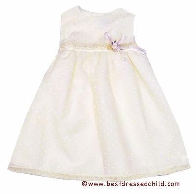 Luli and Me Girls Ivory Sleeveless Dotted Swiss Dress with Flower Accent