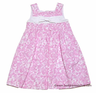 Luli and Me Girls Sleeveless Pleated Pink Dress with Swirls / Rose Floral and Bow