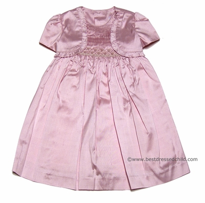 Luli and Me Infant / Toddler Girls Pink Silk Smocked Dress with Built In Ruffled Bolero