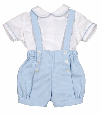 Luli & Me Baby Boys Blue Suspender Shorts with White Shirt