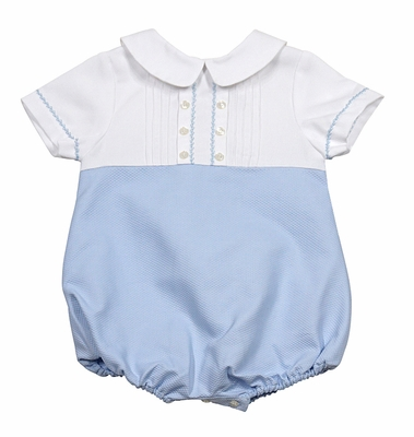 Luli & Me Baby Boys Blue / White Pique Embroidered Bubble
