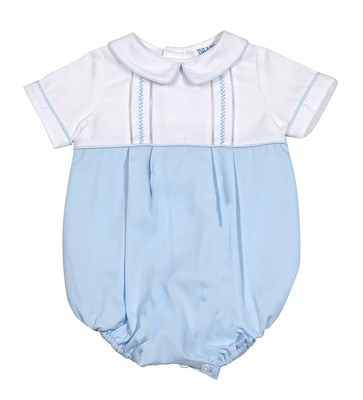 Luli & Me Baby Boys White / Blue Bubble - Blue Embroidery