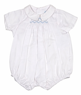Luli & Me Baby Boys White Bubble - Smocked in Blue
