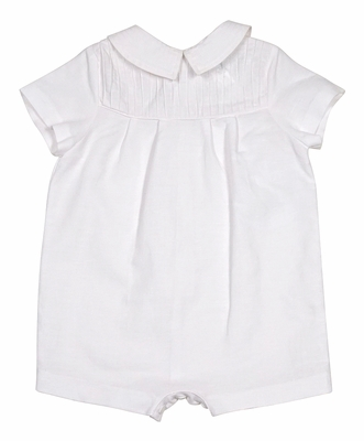Luli & Me Baby Boys White Linen Blend Pleated Romper Suit