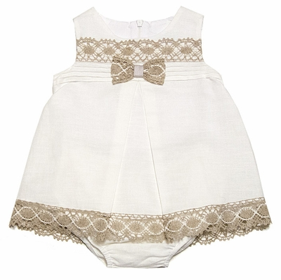 Luli & Me Baby Girls Dainty Ivory Linen Bloomers Set with Ecru Lace Trim
