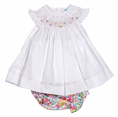 Luli & Me Baby Girls Floral Bloomers with White Top - Smocked with Colorful Flowers